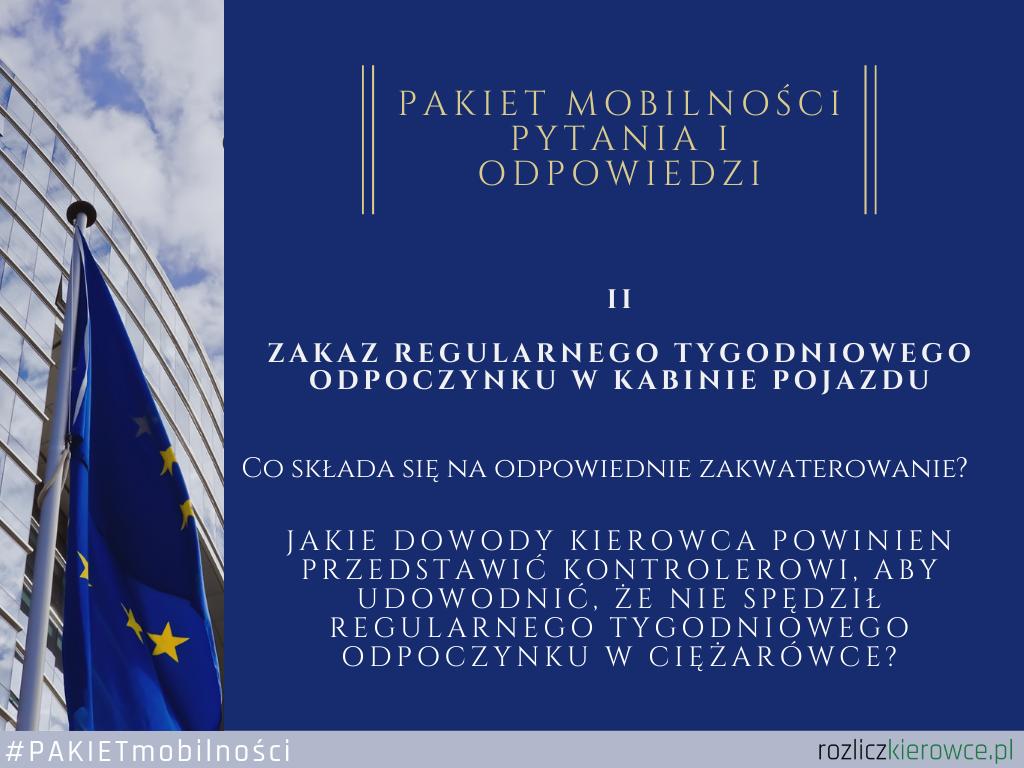 Zakaz regularnego tygodniowego odpoczynku w kabinie pojazdu (Pytania i odpowiedzi opublikowane przez Komisje Europejską)
